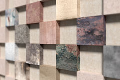 Side view on wall made of square elements Stock Image