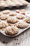 Side view of walnut crumb sweet potato muffins Royalty Free Stock Photography