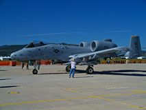 Side view of a A-10 Warthog. A A-10 Warthog on display at the Gateway to Freedom Air Show Stock Photos