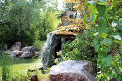 Side View of Waterfall. A side view of the waterfall at the Albuquerque zoo Royalty Free Stock Image