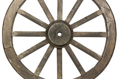 Side view of weathered  wooden wagon wheel on white Royalty Free Stock Image