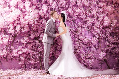 Side view of wedding couple kissing white standing against wall covered with pink flowers.  stock image