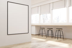 Side view of white kitchen with poster Royalty Free Stock Image