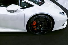 Side view of a White Luxury sportcar Lamborghini Huracan LP 610-4. Car exterior details. Stock Images