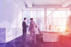 Side view of white open space office, people royalty free stock photo