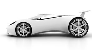 Side view white sports car. Side view of racy sports car on white background Royalty Free Stock Image