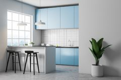 White tile kitchen corner, blue countertops stock illustration