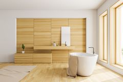 Side view of white and wooden bathroom royalty free stock images