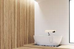 Side view of white, wooden walls bathroom Stock Image