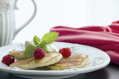 Side view - Whole wheat oatmeal pancakes with  red raspberries and a mint sprig.  Royalty Free Stock Photo