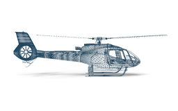 Side view Wire frame Helicopter. 3D render image representing an Helicopter in wire frame. side view Royalty Free Stock Photo