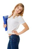Side view of woman with back pain holding a binder Royalty Free Stock Images