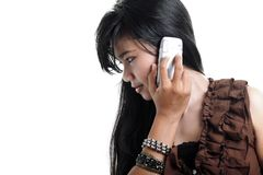Side view woman calling. On mobile phone Stock Images