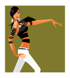 Side view of woman. Is dancing Stock Image