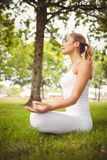 Side view of woman meditating while sitting in lotus pose. At park Stock Photos
