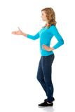 Side view of woman ready to handshake Royalty Free Stock Photography