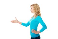 Side view of woman ready to handshake Royalty Free Stock Image
