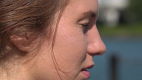 Side View of Woman's face. Stock video of side view of woman´s face stock video footage