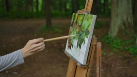 Side view of a woman`s hand painting a landscape on canvas in a park. Palm, brush, easel in the foreground, tree trunks of trees and greenery in the background stock footage