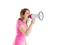 Side view of woman shouting into bullhorn Royalty Free Stock Photography