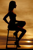 Side view woman sitting silhouette Royalty Free Stock Photo