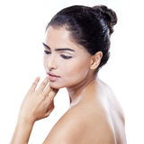 Side view of woman with soft skin Royalty Free Stock Photography