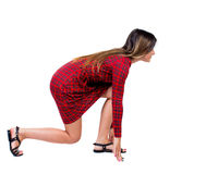 Side view woman start position. Royalty Free Stock Images