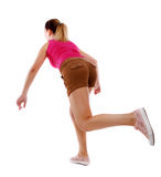 Side view woman start position. Rear view people collection.  backside view of person.  Isolated over white background. Sport blond in brown shorts runs off Royalty Free Stock Images
