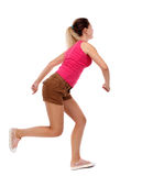Side view woman start position. Rear view people collection.  backside view of person.  Isolated over white background. Sport blond in brown shorts running Royalty Free Stock Photography