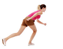 Side view woman start position. Rear view people collection.  backside view of person.  Isolated over white background. Sport blond in brown shorts will start Stock Photos