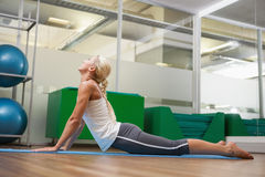 Side view of woman stretching her back in fitness studio Stock Images