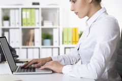 Side view of woman working in office with folders. Side view of a concentrated office employee wearing a white blouse and typing at her laptop in an office with Royalty Free Stock Image