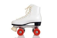 Side view women white quad roller skate Stock Image