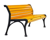 Side view on a wooden bench painted orange with black metal legs, isolated on a white stock photo