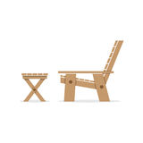 Side View Of Wooden Garden Chair And Table Royalty Free Stock Photos