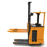 Side view of yellow Rider Stacker on white. 3D illustration Stock Photos