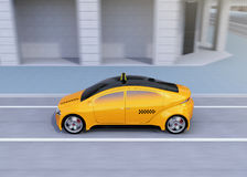 Side view of yellow taxi passing the crossroads. 3D rendering image Royalty Free Stock Image