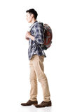Side view of young Asian backpacker. Full length portrait isolated on white background Stock Images