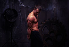 Side view of young bodybuilder with bare torso in dim light Royalty Free Stock Photos