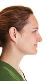 Side view of young brunette woman Stock Photo