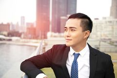Side view of young business man stock photos