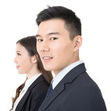 Side view of young business man and woman Royalty Free Stock Photos