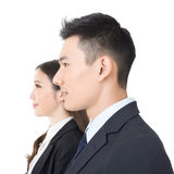 Side view of young business man and woman Stock Photos
