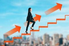 Career development and ascend concept. Side view of young businesswoman climbing abstract drawn ladder on blurry city sky background. Career development and stock images