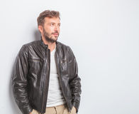 Side view of a young casual man looking away Royalty Free Stock Photo