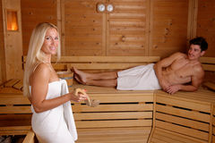 Young couple enjoying sauna Stock Photo