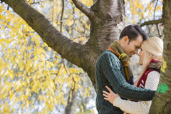 Side view of young couple hugging near autumn tree in park Stock Images