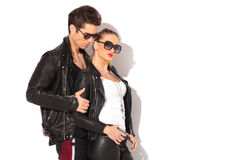 Side view of a young couple in leather jackets Royalty Free Stock Image