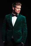 Side view of a young elegant man in green velvet suit Royalty Free Stock Photography