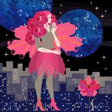 Side view of young girl with hair cut in shape of bouquet of crimson roses and wings of viburnum leaves. On background of night city stock illustration